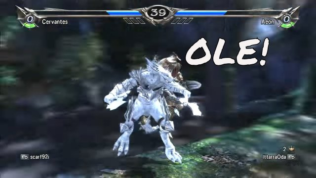 Soulcalibur V: scarf92i (Cervantes) Vs IttarraOda (Aeon) I couldn't stop laughing.